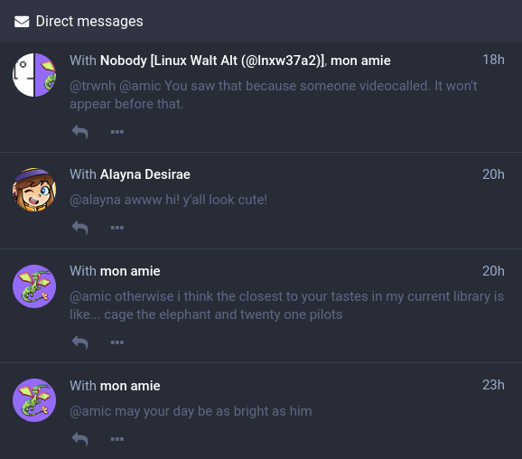 A list of conversations containing direct messages.