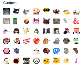 An array of custom emoji are available in the selector.