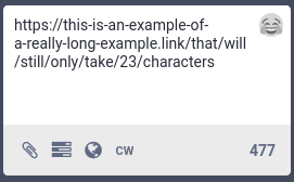 Links must start with http(s):// and are counted as 23 characters regardless of length.